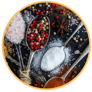 Azúcar, sal y especias